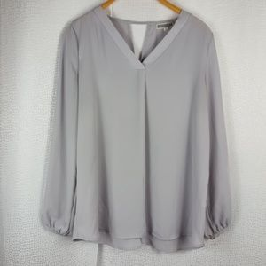 PLEIONE Gray Cut Out Sheer Blouse